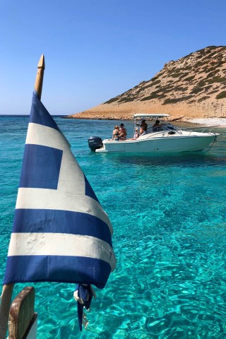 excursion sail away astipalea greek flag